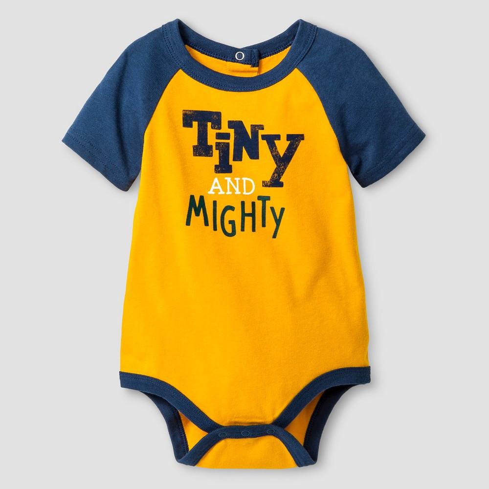 Baby Boys' Short Sleeve Tiny and Mighty Bodysuit - Cat & Jack Gold 6-9M, Marvel Flower Orange