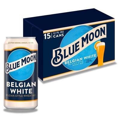 Blue Moon Belgian White Wheat Ale Beer - 15pk/12 fl oz Cans