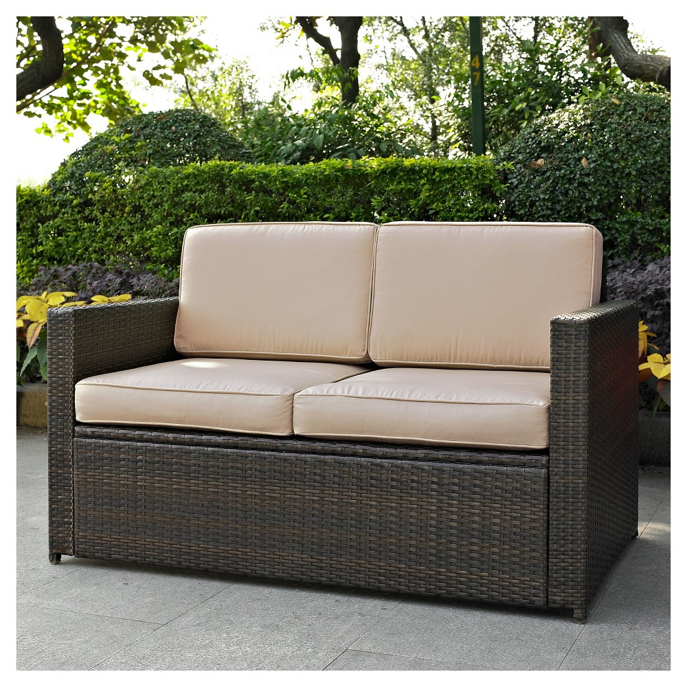 Palm Harbor Outdoor Wicker Loveseat In Brown with Sand Cushions - Crosley, Brown/Brown