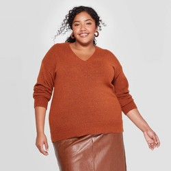 Women's Plus Size V-Neck Pullover Sweater - Ava & Viv™