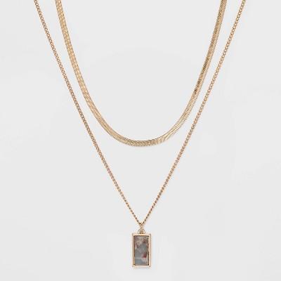 Semi-Precious Jasper Layered Necklace - Universal Thread™ Blue