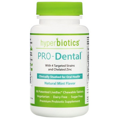 Hyperbiotics PRO-Dental, Natural Mint Flavor, 90 Chewable Tablets,