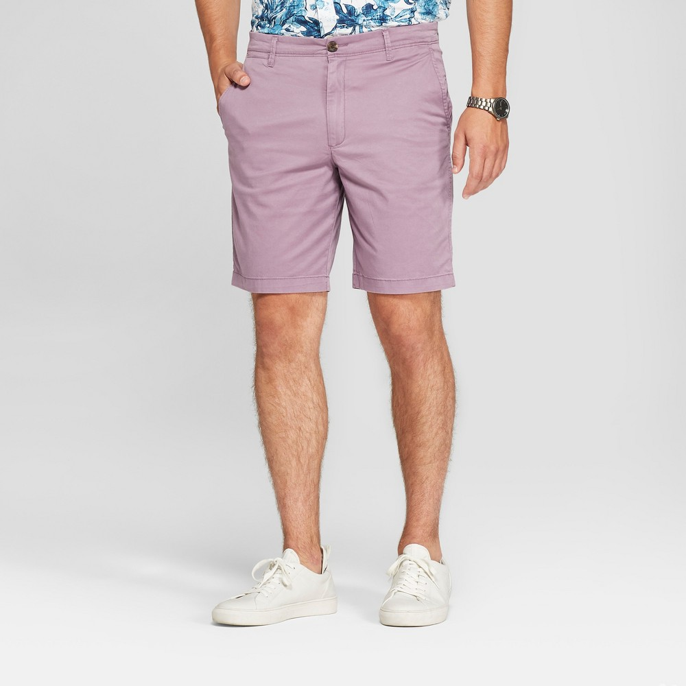 Men's 9 Linden Flat Front Chino Shorts - Goodfellow & Co Refined Plum 30, Purple