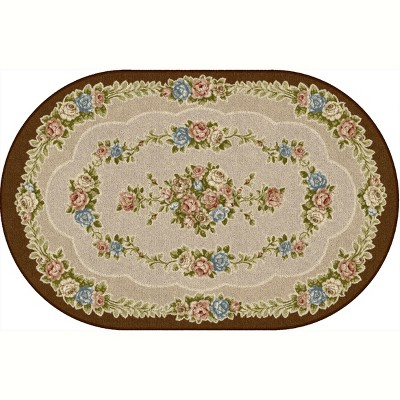 """2'5""""x3'8"""" Oval Indoor and Outdoor Floral Nylon Accent Rug Brown - Brumlow Mills"""