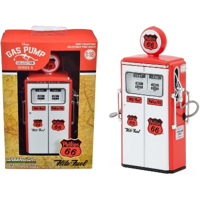 """1954 Tokheim 350 Twin Gas Pump """"Phillips 66 Flite-Fuel"""" Red and White """"Vintage Gas Pumps"""" Series 8 1/18 Diecast Model by Greenlight"""