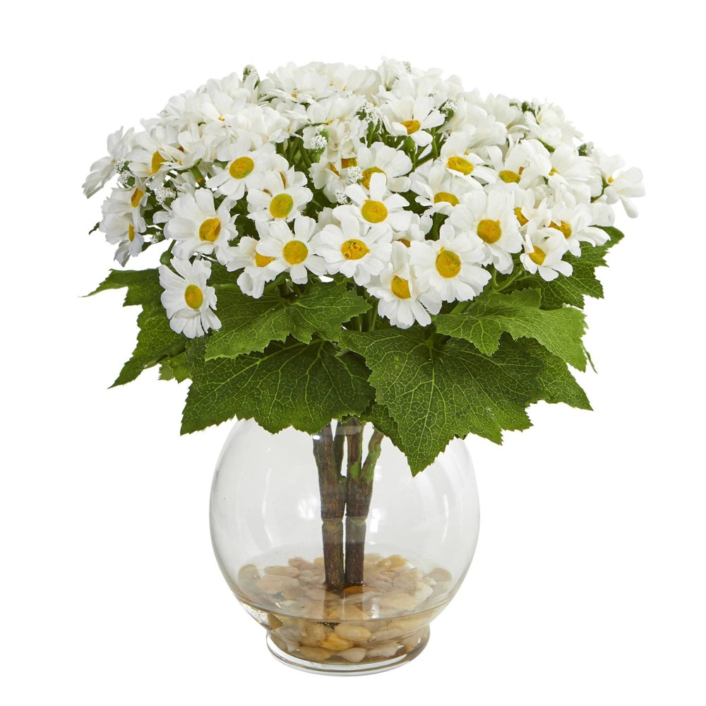 "Image of ""10"""" x 7"""" Artificial Daisy Arrangement in Glass Vase White - Nearly Natural"""