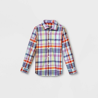 Boys' Woven Long Sleeve Button-Down Shirt - Cat & Jack™ Blue/Purple