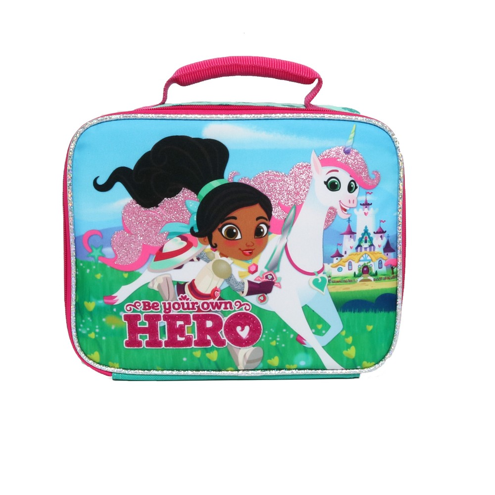 Image of Nella the Princess Knight Royal Hero Lunch Tote - Turquoise, Pale Pink