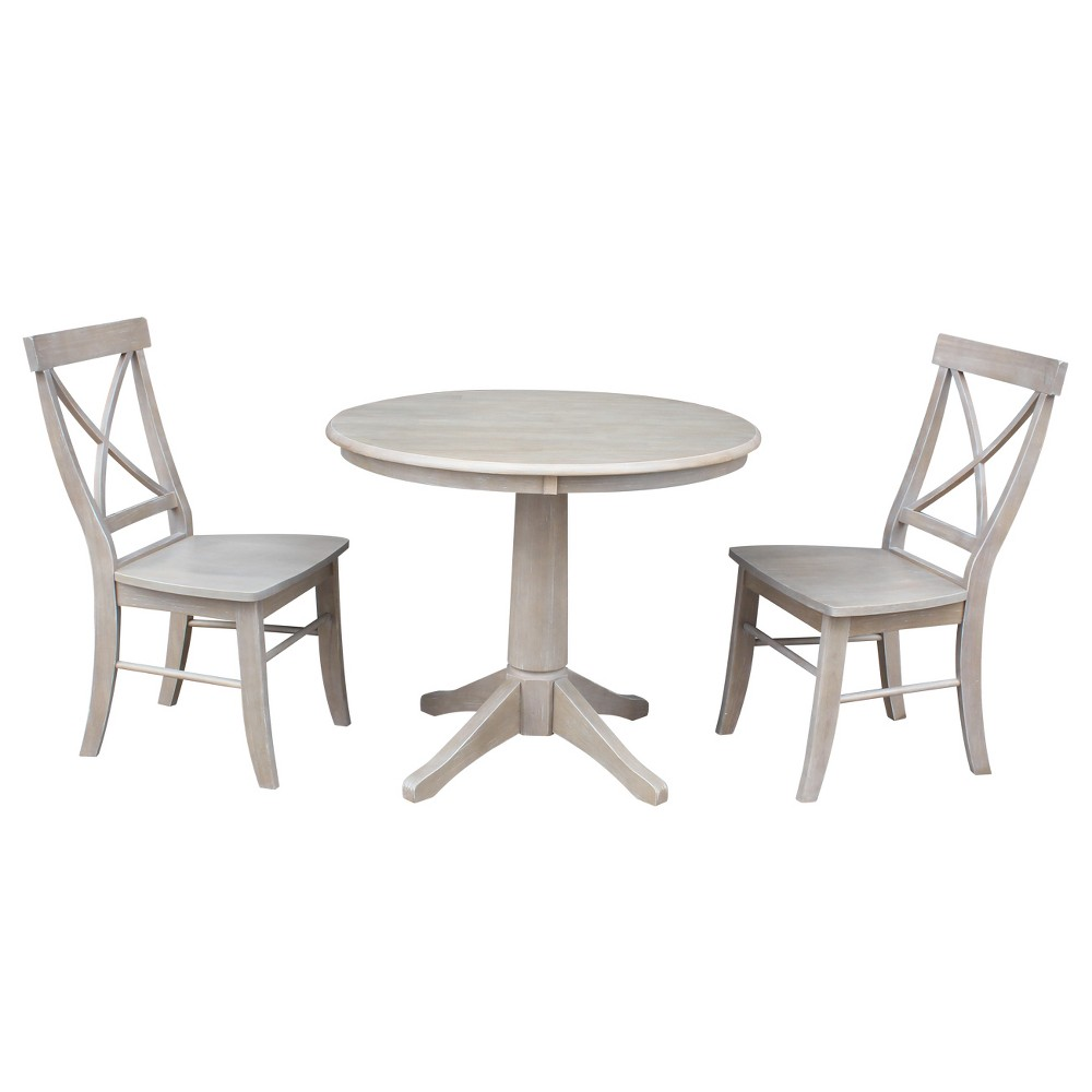 3pc Round Top Solid Wood Pedestal Dining Table and 2 X Back Chairs Washed Gray Taupe - International Concepts, Size: 2XL Back Chairs 3pc Round Top Solid Wood Pedestal Dining Table and 2 X Back Chairs Washed Gray Taupe - International Concepts, Size: 2XL Back Chairs Size: 2X Back Chairs.