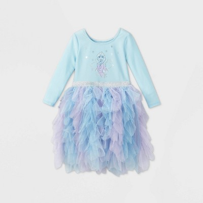 Toddler Girls' Disney Frozen Elsa Long Sleeve Tutu Dress - Light Blue