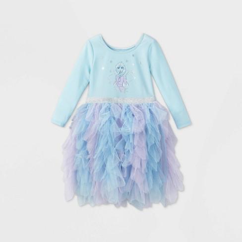 Toddler Girls' Disney Frozen Elsa Long Sleeve Tutu Dress - Light Blue - image 1 of 2