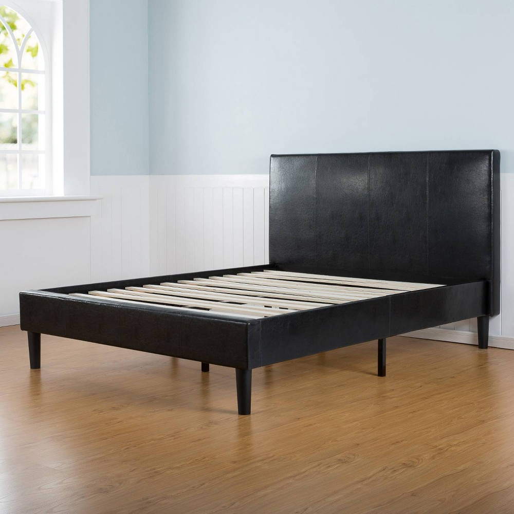 Image of Sleep Revolution Platform Bed Faux Leather Dark Brown Full size