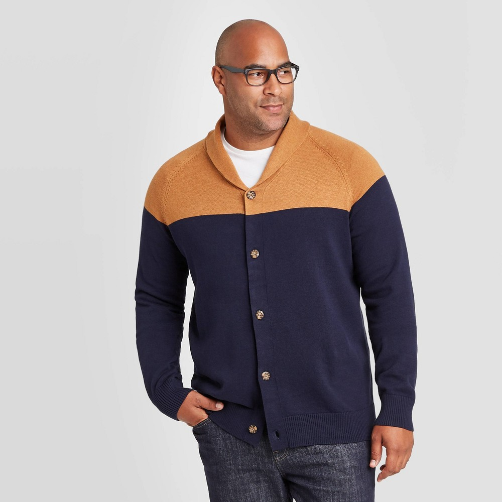 Men's Vintage Sweaters History Mens Big  Tall Colorblock Regular Fit Collared Button-Down Shawl Sweater - Goodfellow  Co Navy 5XB $20.99 AT vintagedancer.com