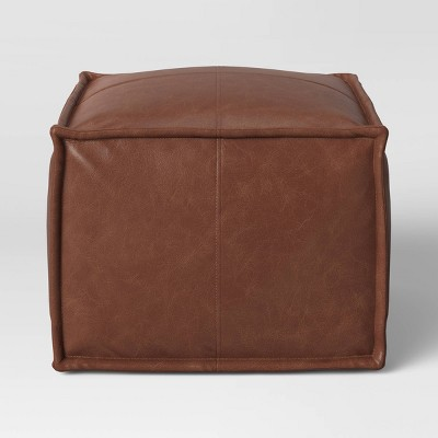 Pouf Earl Faux Leather French Seam Ottoman Caramel - Project 62™