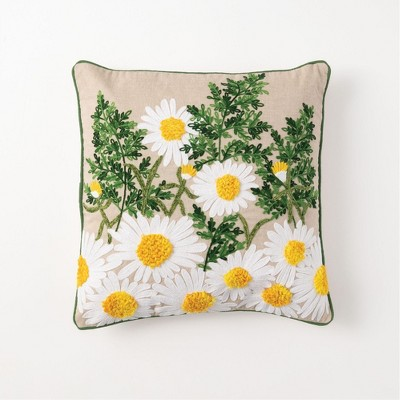 "Sullivans Embroidered Daisy Decorative Pillow 18""H Yellow"
