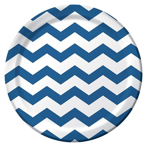 "Blue Chevron Stripe and Dots 9"" Paper Plates - 8ct - image 1 of 1"