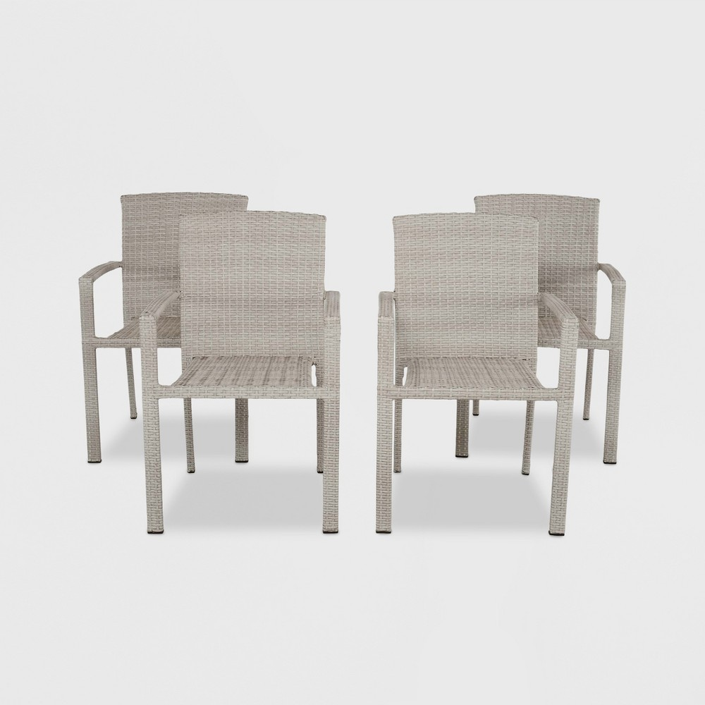 Southcrest 4pk All-Weather Wicker Patio Stack Chair Gray - Threshold was $450.0 now $225.0 (50.0% off)
