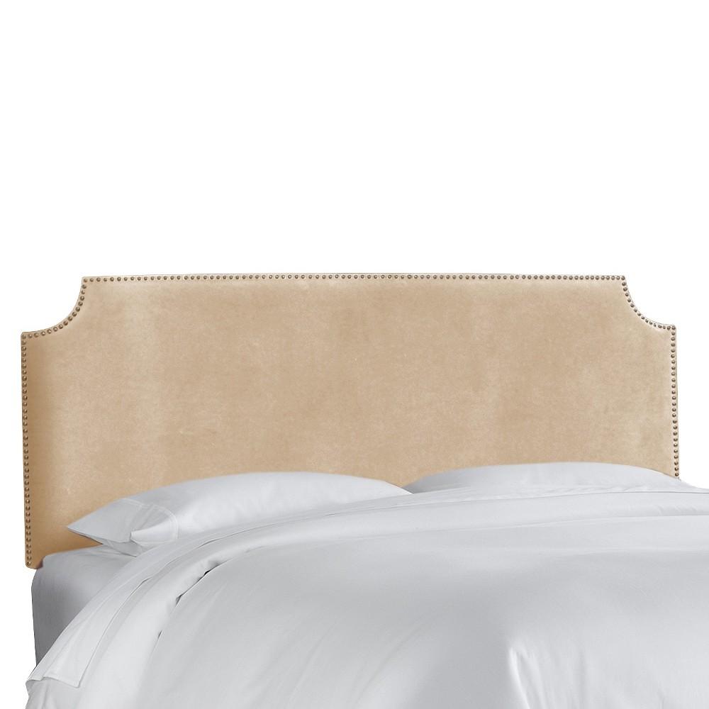 California King Lombard Nail Button Notched Headboard Tan Microfiber - Skyline Furniture