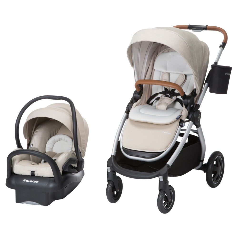 Image of Maxi-Cosi Adorra All-in-One Modular Travel System with Mico Max 30 Infant Car Seat, Nomad Sand, Nomad Brown