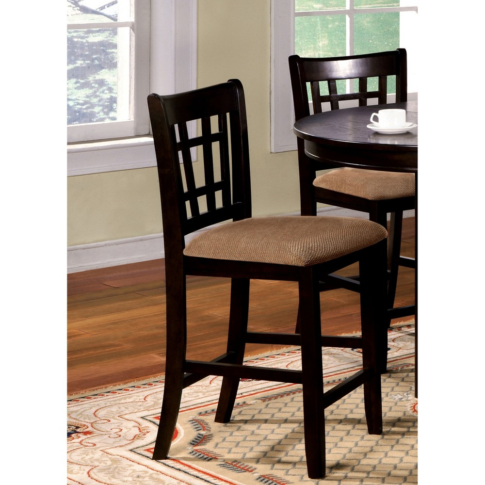 miBasics Open Gridded Back Counter Side Chair Wood/Espresso (Set of 2)