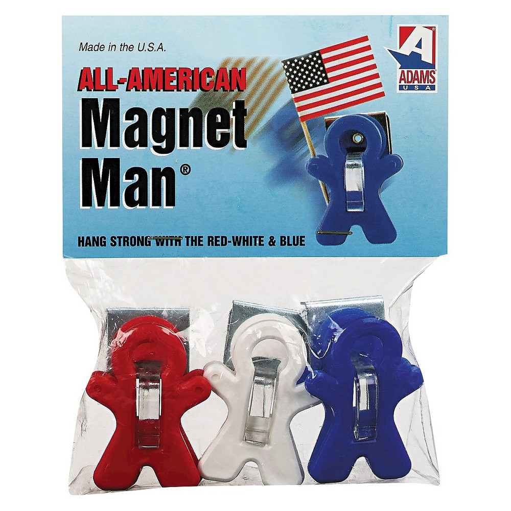 Adams Manufacturing Plastic Magnet Man Clip - Assorted Colors - 3ct - 2 Pack, Blue