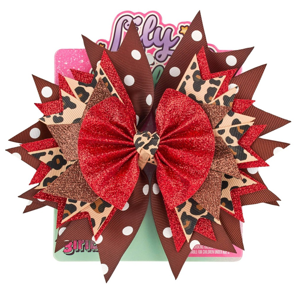 Image of Lily Frilly Hair Bow - Leopard