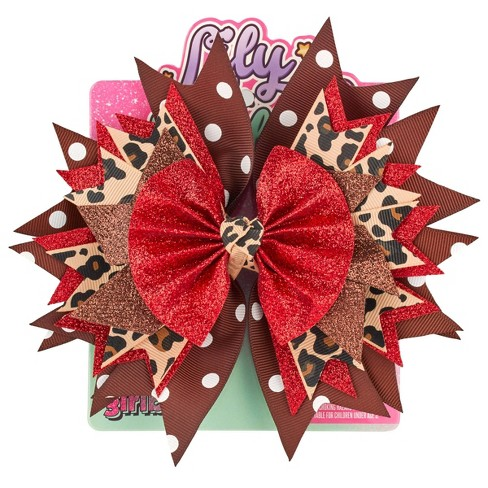 Lily Frilly Hair Bow - Leopard - image 1 of 4