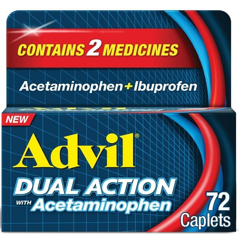 Advil Dual Action with Acetaminophen combination of 250mg Ibuprofen and 500mg Acetaminophen Coated Caplets - image 1 of 4