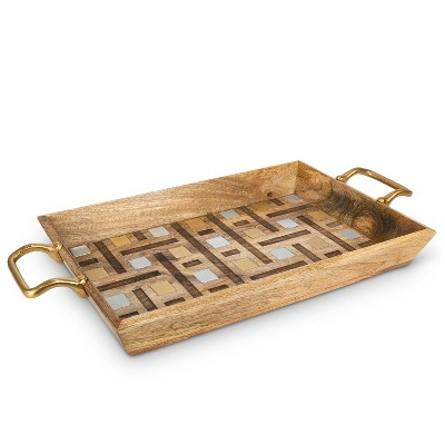 GG Collection Mango Wood with Laser and Metal Inlay Weave Design Tray with Gold-tone Handles.