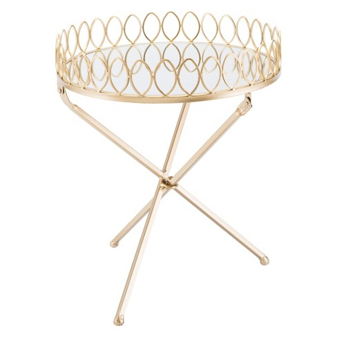 "18"" Luxe Mirror and Steel Tray Table - Gold - ZM Home - image 1 of 1"