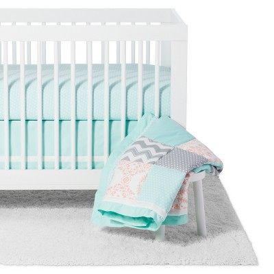 The Peanutshell Crib Bedding Set - Medallion Medley - 5pc - Coral/Mint