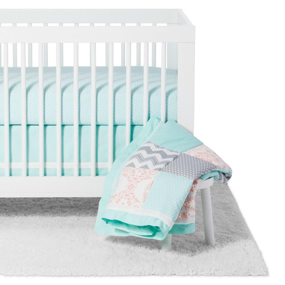 The Peanutshell Crib Bedding Set - Medallion Medley - 5pc - Coral/Mint