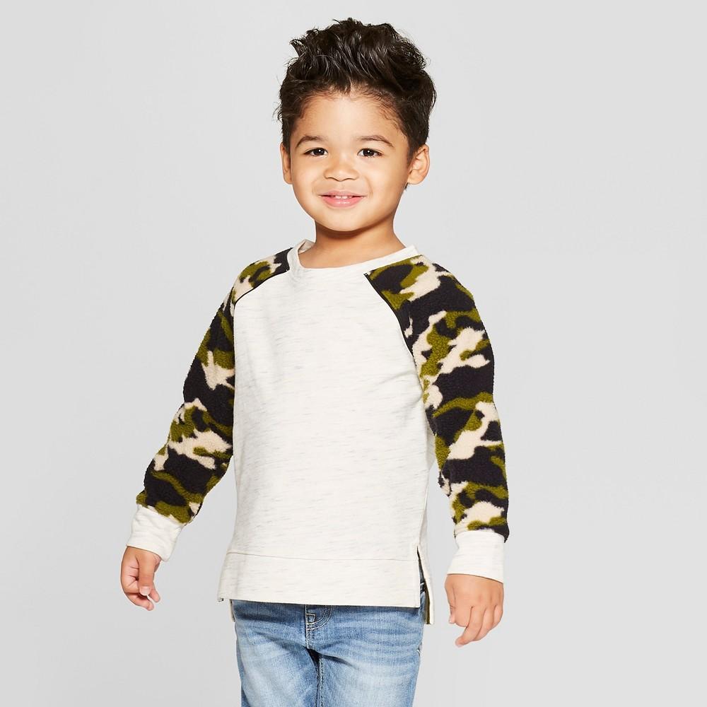 Toddler Boys' Sherpa Raglan Sleeve Sweatshirt - Cat & Jack Gray 12M