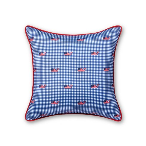 "20""x20"" Flag Whale and Gingham Throw Pillow - Navy - vineyard vines® for Target - image 1 of 2"