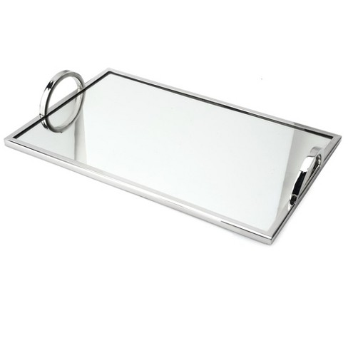 Chrome Edging And Handles Silver, Silver Mirror Tray Rectangle