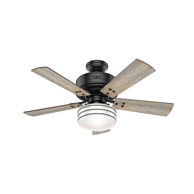 "44"" Cedar Key Damp Rated Ceiling Fan with Remote Black (Includes LED Light Bulb) - Hunter Fan"