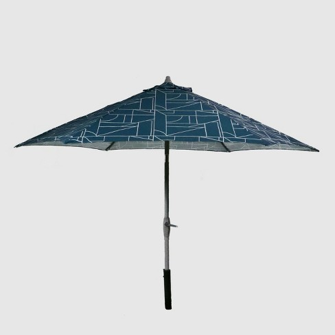 9' Round Geo Block Patio Umbrella Teal - Ash Pole - Project 62™ - image 1 of 3