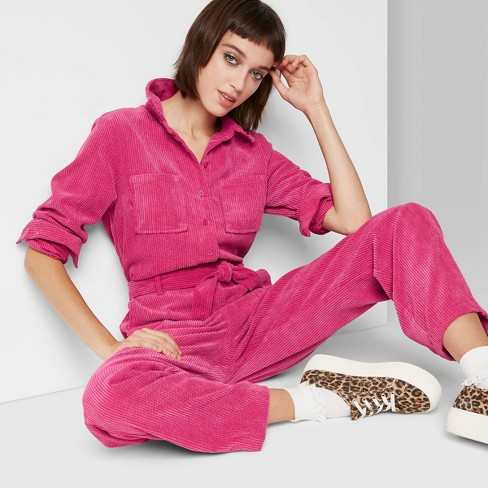 Women's Long Sleeve Corduroy Jumpsuit - Wild Fable™ Pink XXL - image 1 of 3