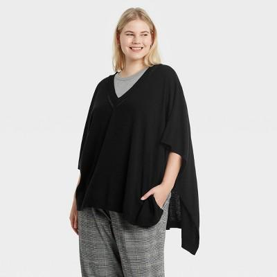 Women's V-Neck Knit Poncho - A New Day™