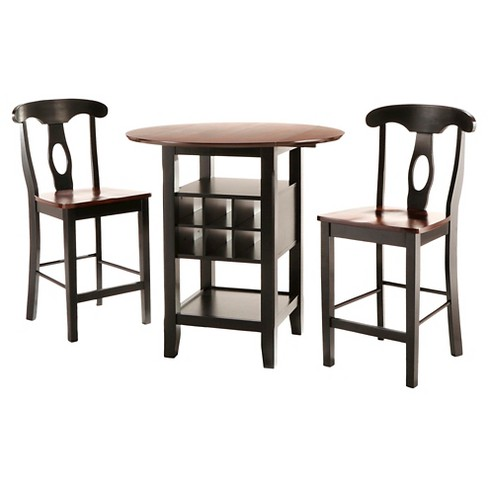 3-Piece Winthrop Counter Height Bistro Set Wood/Black - Inspire Q - image 1 of 5