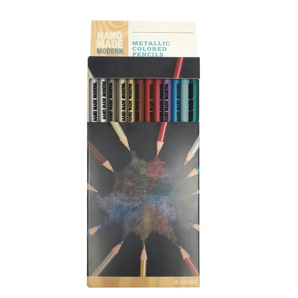 Image of 12ct Pre-Sharpened Metallic Colored Pencils - Hand Made Modern