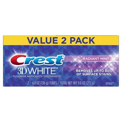 Crest 3D White Whitening Toothpaste Radiant Mint - 4.8oz - 2ct