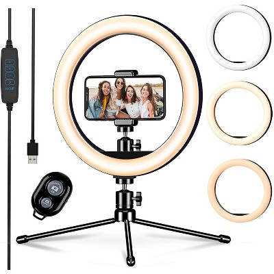 10-inch Led Ring Light with Tripod Stand & Phone Holder & Remote 3 Light Modes & 10 Brightness Levels Perfect for Makeup YouTube TIK Tok Video Live Streaming Photography - F531