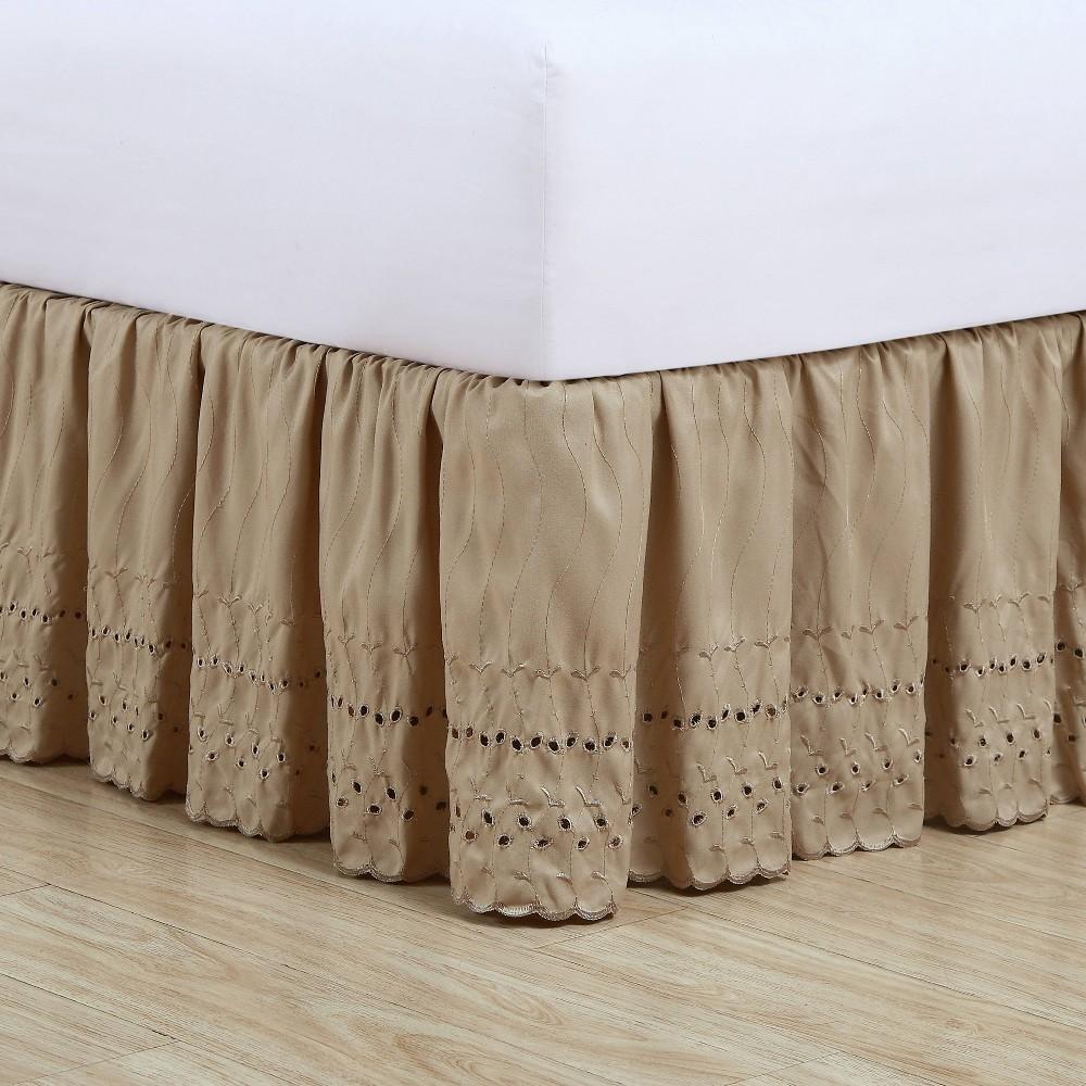 Image of Fresh Ideas California King Ruffled Eyelet Bed Skirt Mocha, Brown