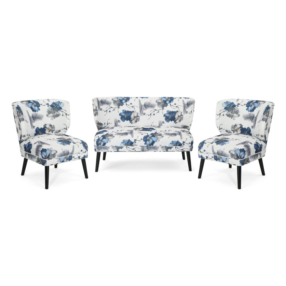 3Pc Desdemona Contemporary Chair Blue - Christopher Knight Home