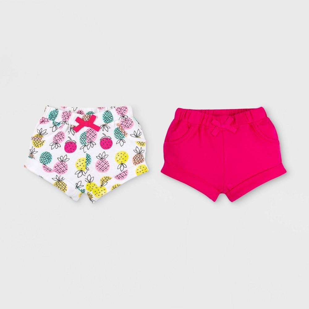 Lamaze Baby Girls' 2pk Organic Cotton French Pull On Terry Shorts - Pink/White 12M