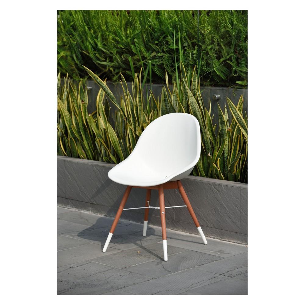 Image of 2pc Metz Eucalyptus Patio Dining Chair Set Brown Finish - Amazonia
