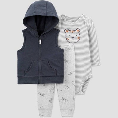 Baby Boys' Tiger Sherpa Vest Top & Bottom Set - Just One You® made by carter's Gray 3M