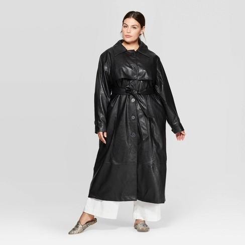 Women's Plus Size Long Sleeve Front Button-Down Tie-Waist Maxi Faux-Leather Jacket - Prologue™ Black  - image 1 of 3