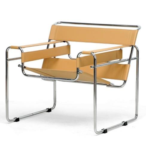 Jericho Leather Mid Century Modern Accent Chair Tan - Baxton Studio